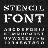 Western retro alphabet vector stencil font. Stock Images