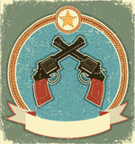 Western revolvers and sheriff star.Vintage. Label illustration for text Royalty Free Stock Photo