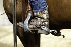Western spur and stirrup with a lot of bling bling Royalty Free Stock Photography