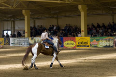 Western riding competition. NRHA Roleski 4 Spins - profesional,NRHA approved reining shows, takin plane in Stare Zukowice, Poland every year in May. This edition Stock Photo