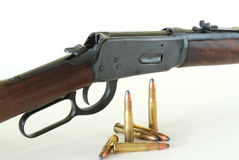 Western Rifle and .30-.30 Ammunition Stock Photo