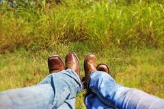 Western Romance in Boots Royalty Free Stock Photos