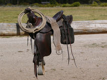 Western Saddle. With rope coiled over the saddle horn Stock Images
