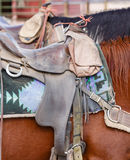 Western saddle. Closeup of western US style horse tack and saddle Stock Photos