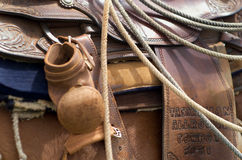 Western Saddle. Close up detail of Western Horse Saddle and Lasso rope Stock Image