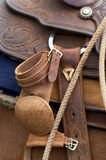 Western Saddle. Close up detail of Western Horse Saddle and Lasso rope Royalty Free Stock Photos