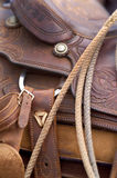 Western Saddle. Close up detail of Western Horse Saddle Stock Photos