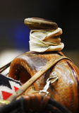 Western Saddle Horn. Closeup of the saddle horn of a well-used western roping saddle on a horse (shallow focus on saddle horn Stock Photos