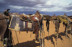 Western saddles. And saddle gear in western landscape Royalty Free Stock Images