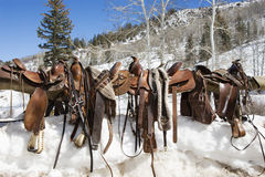 Western Saddles on a Rail. Four Western saddles sitting on a rail with a snowy landscape in the background. Horizontal shot Royalty Free Stock Photography