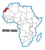 Western Sahara Africa Map. Western Sahara outline inset into a map of Africa over a white background Royalty Free Stock Photos