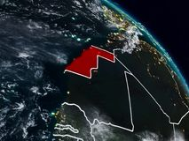 Western Sahara en la noche stock de ilustración