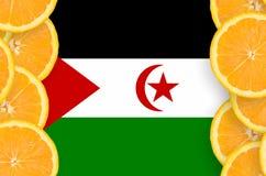 Western Sahara flag in citrus fruit slices vertical frame stock photography