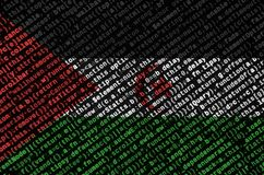 Western Sahara flag is depicted on the screen with the program code. The concept of modern technology and site development.  stock image