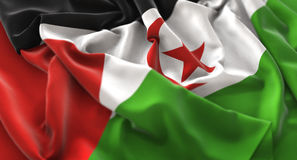 Western Sahara Flag Ruffled Beautifully Waving Macro Close-Up Sh. Ot Studio Royalty Free Stock Photo