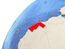 Western Sahara on globe Stock Image