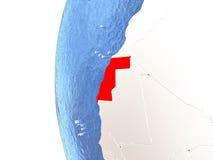Western Sahara on globe Royalty Free Stock Image