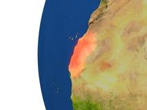 Western Sahara on globe Stock Images