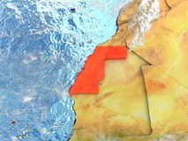 Western Sahara on map with clouds Royalty Free Stock Photos