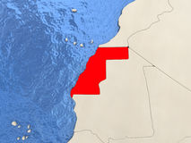Western Sahara on map Royalty Free Stock Images
