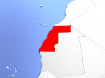 Western Sahara in red on map Stock Photo