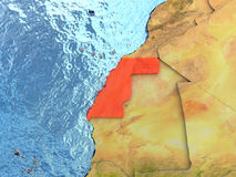 Western Sahara in red Stock Photo