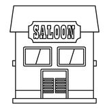 Western saloon icon, outline style Royalty Free Stock Photography