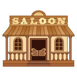 Western Saloon. Vector saloon building from Wild West royalty free illustration