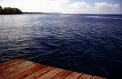 Western Samoa - ocean view. View from a jetty/pier to the ocean - Western Samoa stock photo