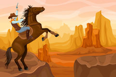 Western Scenery Background. With cowboy shooting at sky and riding horse on mountain desert landscape vector illustration Stock Photos