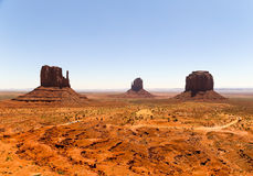 Western Scenery. East and West Mitten Buttes and Merrick Butte in Monument Valley at daytime Stock Photography