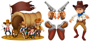 Western set with cowboy and guns. Illustration Royalty Free Stock Photography