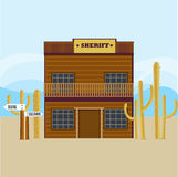 Western Sheriff House Facade Template Royalty Free Stock Image