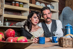 Western Sheriff and Woman Pose Inside House Stock Photos