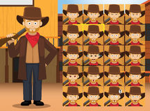 Western Shotgun Man Cartoon Character Emotions Stock Photos