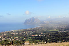 Western of Sicily. Panorama of western Sicily, views of Mount Cofano and Bonagia Royalty Free Stock Photo