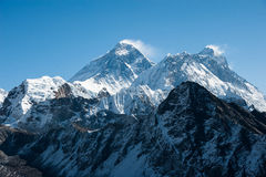 Western side of Mount Everest and Lhotse  Himalaya, Nepal Royalty Free Stock Photos