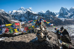 Western side of Mount Everest and Lhotse, Himalaya, Nepal. View of the himalayas, Mount Everest and Lhotse as seen from Gokyo ri, Nepal Stock Photo