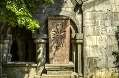 Western side of the vestibule of Church of St.Gregory in Sanahin,with stone cross Royalty Free Stock Image