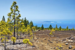 Western slopes of Teide national Park to the Ocean Royalty Free Stock Photography