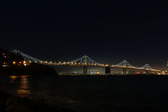 The western span of the Oakland Bay Bridge at night. Royalty Free Stock Photos
