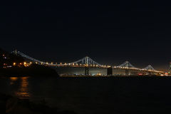 The western span of the Oakland Bay Bridge at night. Royalty Free Stock Photo