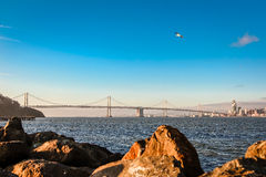 The western span of the Oakland Bay Bridge at sunrise. Stock Photography