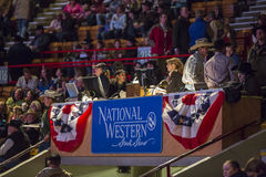 Western Stock Show in Denver. Denver, Colorado - January 15: Cowboys compete in the steer roping event at the Great Western Stock Show in Denver, Colorado on Stock Photo