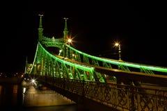 Western strona łączy Budę i zarazy przez Dunabe rzekę w Budapest swoboda most, Węgry Zdjęcia Stock