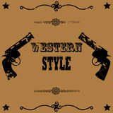 Western style. Concept illustration showing a vintage poster background image with two guns and the words Western Style Stock Photography