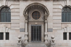 Western Style Government Building Gate With Chines. E Imperial Lion, Guardian Lion Stock Image