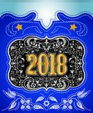 2018 western style holidays design, cowboy belt buckle with background. Event poster - eps available vector illustration