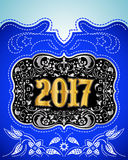 2017 western style holidays design, cowboy belt buckle with background. Event poster - EPS AVAILABLE royalty free illustration