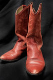 Western Style Red Cowgirl/Cowboy Boots with a Black Background Stock Photos